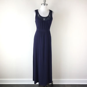 Gap S Navy Blue Maxi dress Lace yoke Stretch